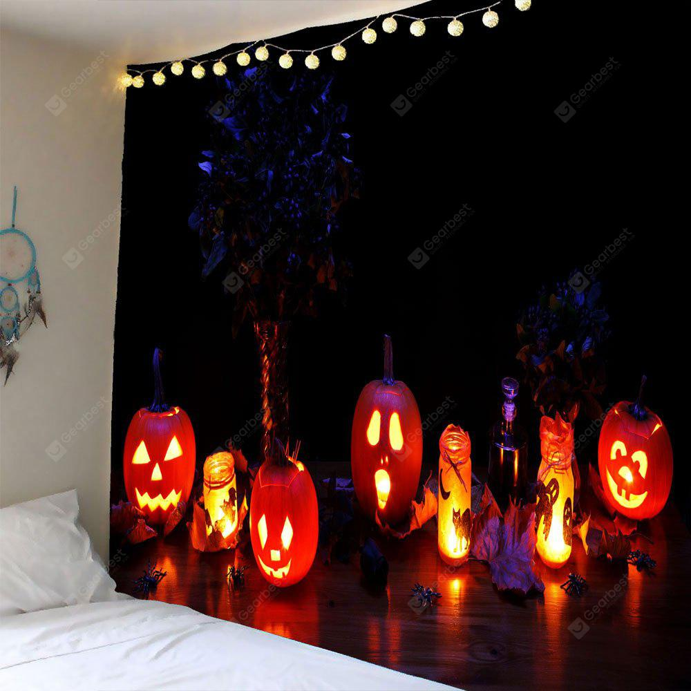COLORFUL Halloween Night Pumpkin Light Waterproof Wall Tapestry