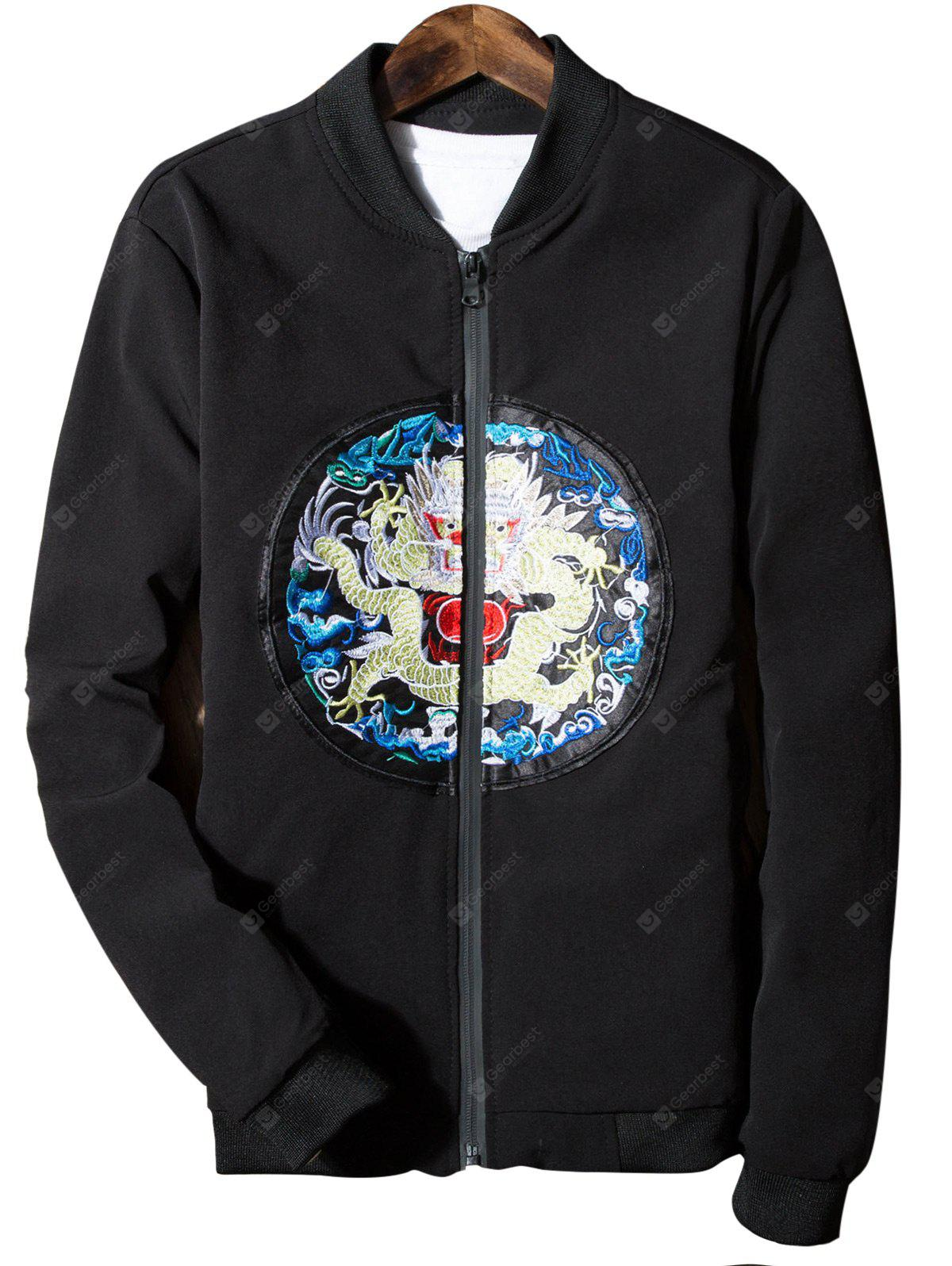 Stand Collar Dragon Embroidered Zip Up Jacket