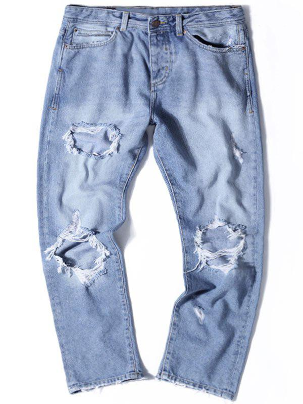 Light Wash Straight Leg Distressed Jeans