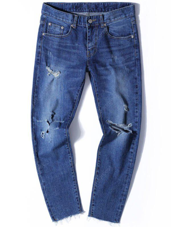 Zip Fly Tapered Jeans with Knee Rips