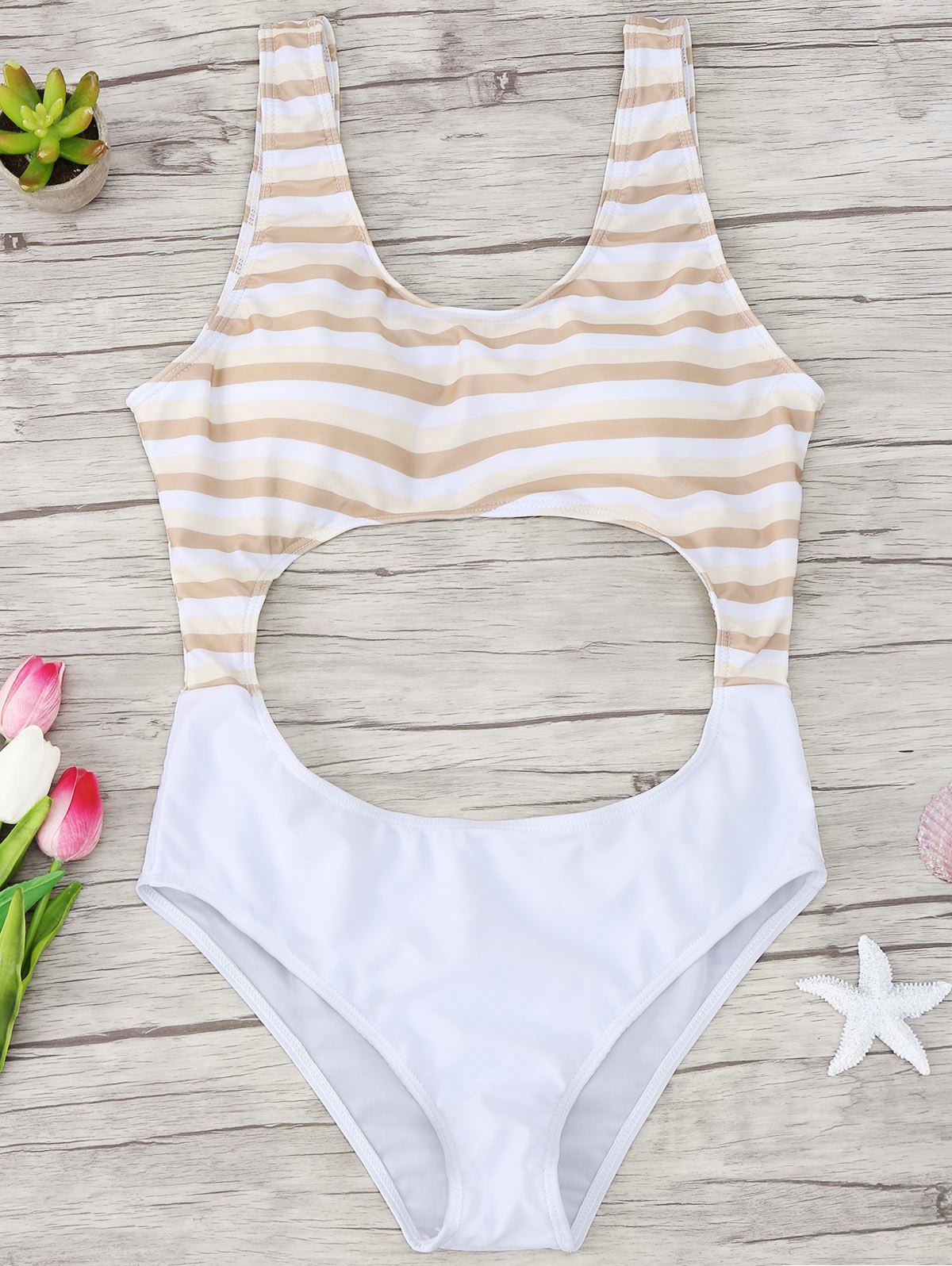 Striped Cutout One Piece Swimsuit