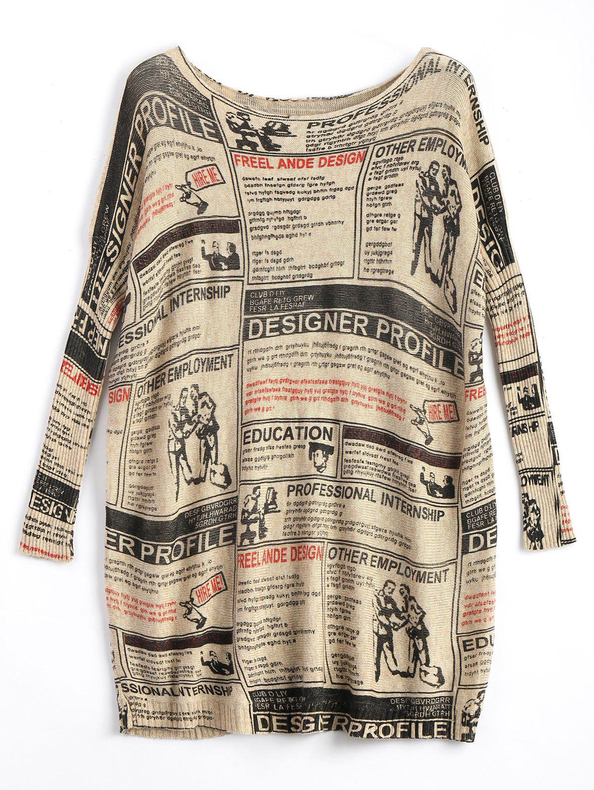 Plus Size Newspaper Printed Long Vintage Sweater