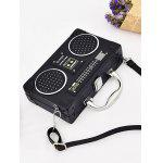 Radio Shaped PU Leather Crossbody Bag - BLACK