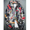 Hooded Camouflage Splatter Paint Lightweight Jacket - RED