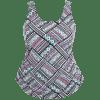 Tribe Print Overlay Plus Size Swimwear - COLORMIX
