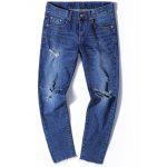 Zip Fly Tapered Jeans with Knee Rips - DENIM BLUE