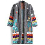 Jacquard Contrasting Open Front Cardigan - GRAY