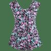 Printed Skirted Plus Size Swimwear - COLORMIX