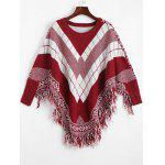 Plus Size Fringed Geometric Poncho Sweater - WINE RED