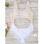 Striped Cutout One Piece Swimsuit - YELLOW