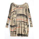 Plus Size Newspaper Printed Long Vintage Sweater - APRICOT