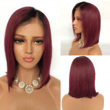 Short Side Part Ombre Straight Bob Lace Front Human Hair Wig