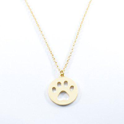 Buy GOLDEN Round Claw Footprint Pendant Collarbone Necklace for $2.55 in GearBest store