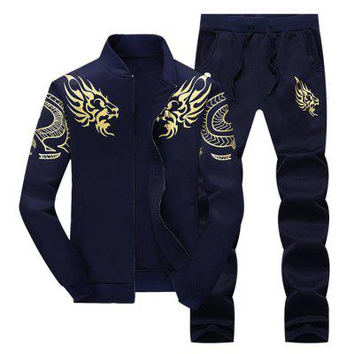 Buy PURPLISH BLUE 3XL Totem Dragon Print Jacket and Sweatpants Suit for $33.82 in GearBest store