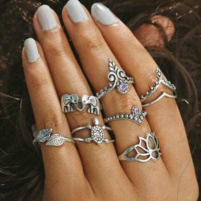 Rhinestone Elephant Tortoise Leaf Finger Ring Set