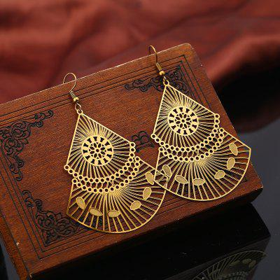 Buy GOLDEN Statement Alloy Flower Geometric Hook Earrings for $4.51 in GearBest store