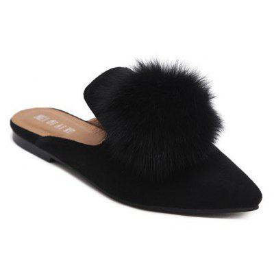 Buy BLACK Pointed Toe Flat Heel Pompon Slippers for $35.01 in GearBest store