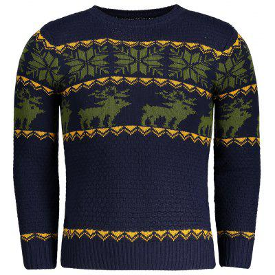 Buy PURPLISH BLUE L Crew Neck Jacquard Mens Sweater for $27.95 in GearBest store