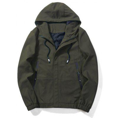 Buy ARMY GREEN L Hooded Drawstring Elastic Waist Zip Up Jacket for $33.57 in GearBest store