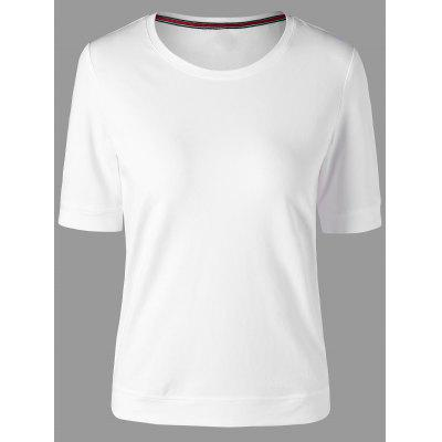 Buy WHITE L Round Neck Slim Basic T-shirt for $23.73 in GearBest store