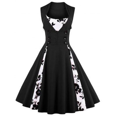 Vintage Floral Print Prom Swing Pin Up Dress