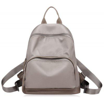 Buy KHAKI Color Block Zippers Nylon Backpack for $22.14 in GearBest store