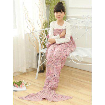 Wave Knitted Sofa Sleeping Mermaid Blanket For Kids cute sea wave pattern mermaid shape knitted blanket for children