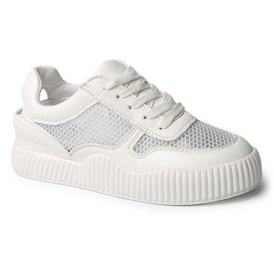 Buy WHITE 37 Round Toe Breathable Mesh Sneakers for $35.83 in GearBest store
