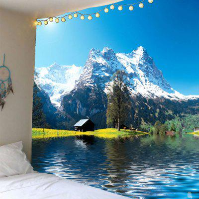 Buy GREEN Snow Mountains Lake Cottage Waterproof Wall Tapestry for $19.40 in GearBest store
