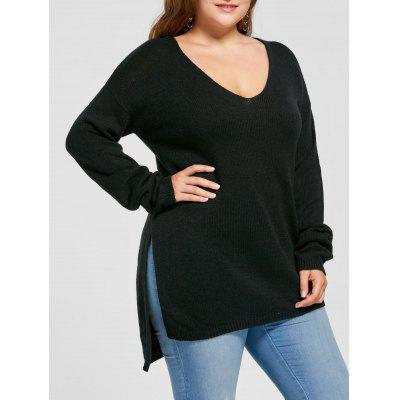 Buy BLACK 3XL Plus Size Side Slit V Neck Sweater for $26.24 in GearBest store