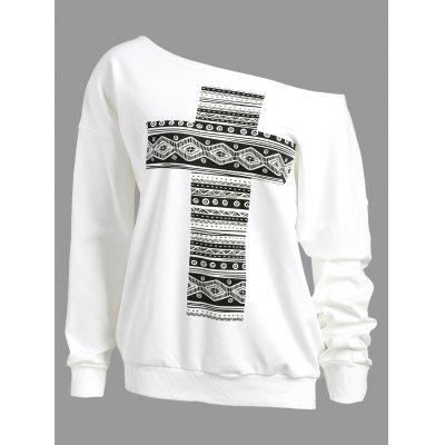 Drop Shoulder Cross Print Sweatshirt