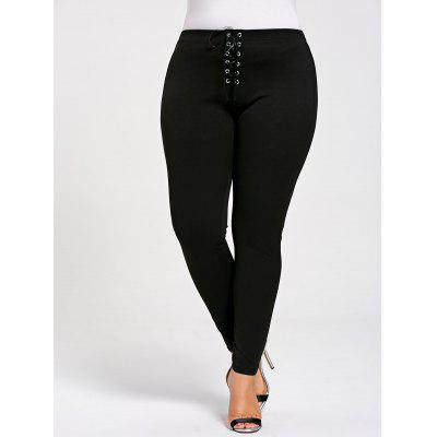 Plus Size Lace Up Skinny Leggings
