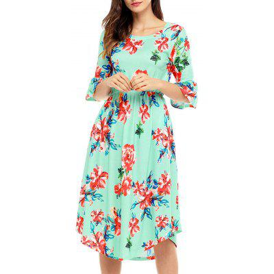 Flare Sleeve Midi Floral DressWomens Dresses<br>Flare Sleeve Midi Floral Dress<br><br>Dresses Length: Mid-Calf<br>Material: Polyester, Spandex<br>Neckline: Round Collar<br>Package Contents: 1 x Dress<br>Pattern Type: Floral<br>Season: Spring, Fall<br>Silhouette: A-Line<br>Sleeve Length: Half Sleeves<br>Sleeve Type: Flare Sleeve<br>Style: Brief<br>Weight: 0.4500kg<br>With Belt: No