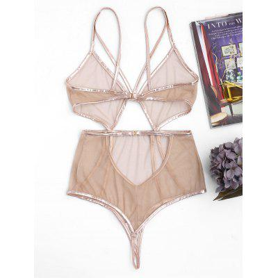 Cut Out Sheer Mesh TeddiesLingerie &amp; Shapewear<br>Cut Out Sheer Mesh Teddies<br><br>Bra Style: Bralette<br>Closure Style: None<br>Cup Shape: Three Quarters(3/4 Cup)<br>Embellishment: None<br>Materials: Spandex<br>Package Contents: 1 x Teddies<br>Pattern Type: Others<br>Strap Type: Non-adjusted Straps<br>Style: Sexy<br>Support Type: Wire Free<br>Weight: 0.1400kg