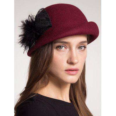 Pompon Bowknot Embellished Curly Brim Pillbox Hat