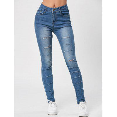 High Waisted Distressed Ripped Jeans