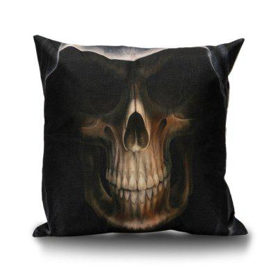 Hooded Skull Pattern Decorative Linen Sofa Pillowcase