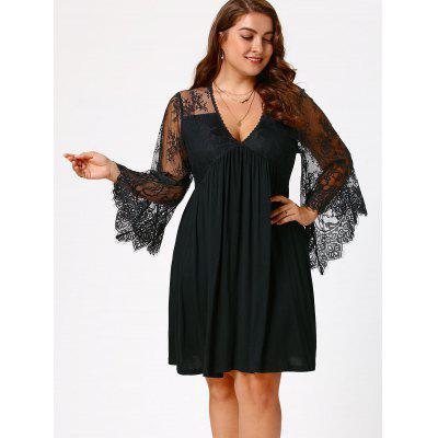 Empire Waist Plus Size Tunic DressPlus Size Dresses<br>Empire Waist Plus Size Tunic Dress<br><br>Dresses Length: Knee-Length<br>Elasticity: Elastic<br>Embellishment: Lace,Panel<br>Material: Polyester, Spandex<br>Neckline: V-Neck<br>Package Contents: 1 x Dress<br>Pattern Type: Solid Color<br>Season: Summer, Spring, Fall<br>Silhouette: A-Line<br>Sleeve Length: Long Sleeves<br>Sleeve Type: Flare Sleeve<br>Style: Brief<br>Waist: Empire<br>Weight: 0.3500kg<br>With Belt: No