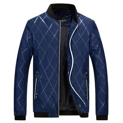 Zipper Pocket Diamond Bomber Jacket