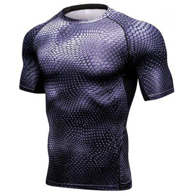 Quick Dry 3D Geometric Print Fitted Gym T-Shirt