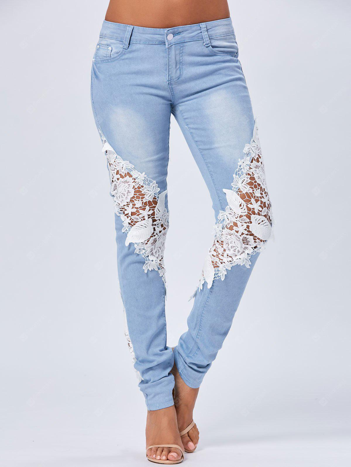 Lace Panel Staright Light Wash Jeans