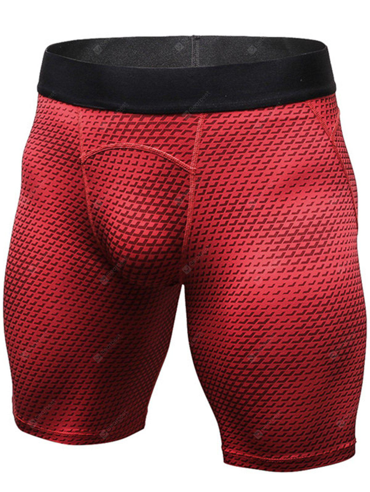 Quick Dry 3D Geometric Print Fitted Gym Shorts