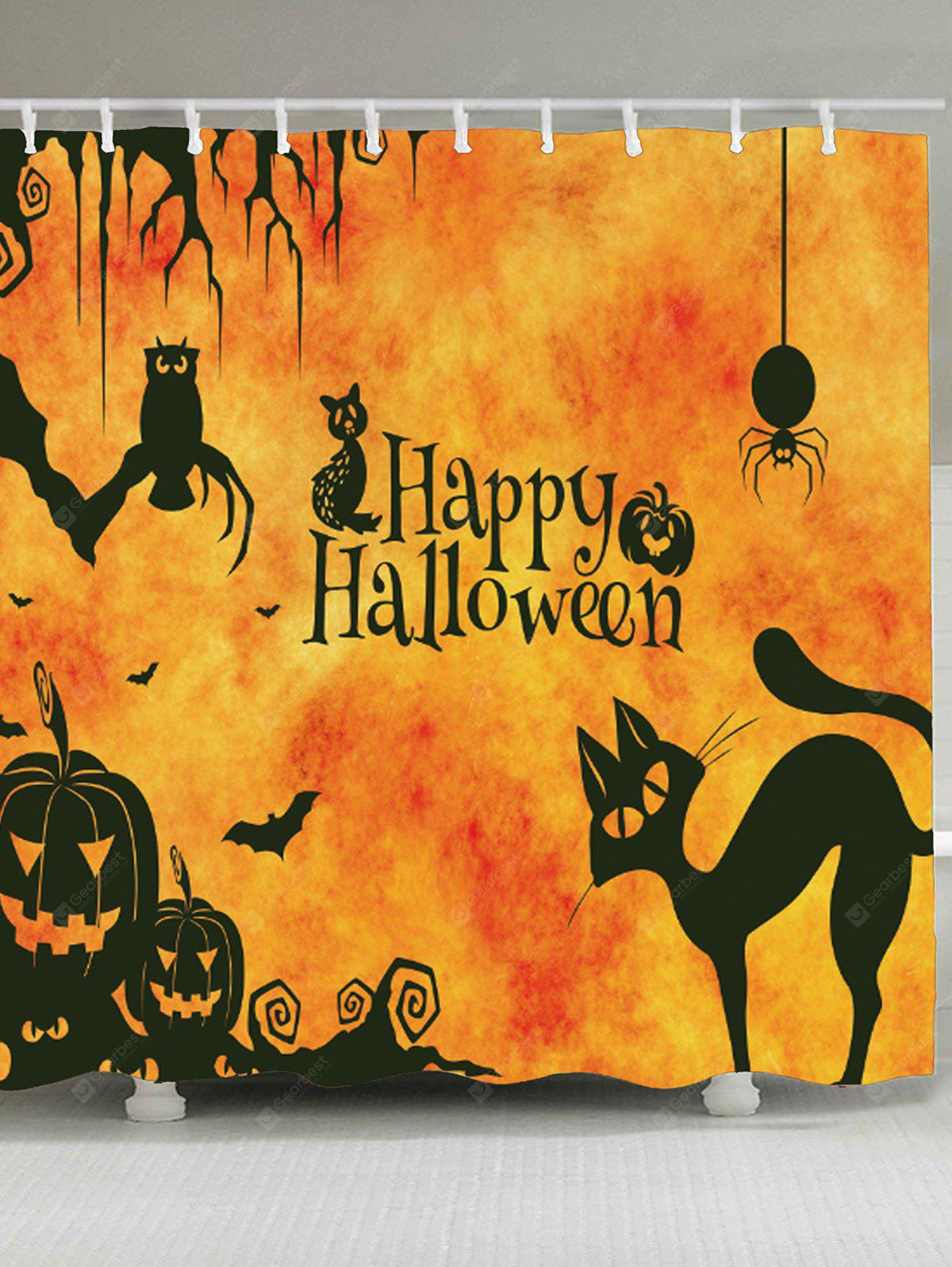 ORANGE Halloween Cat Print Waterproof Shower Curtain