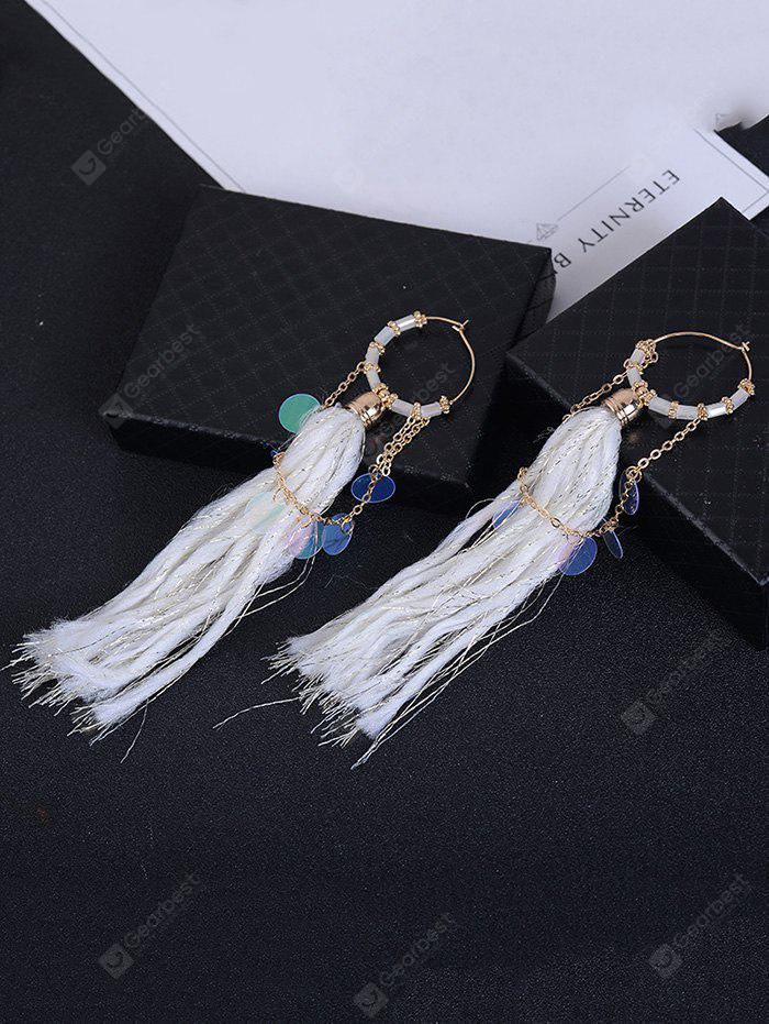 Round Piece Link Chain Fringed Drop Earrings