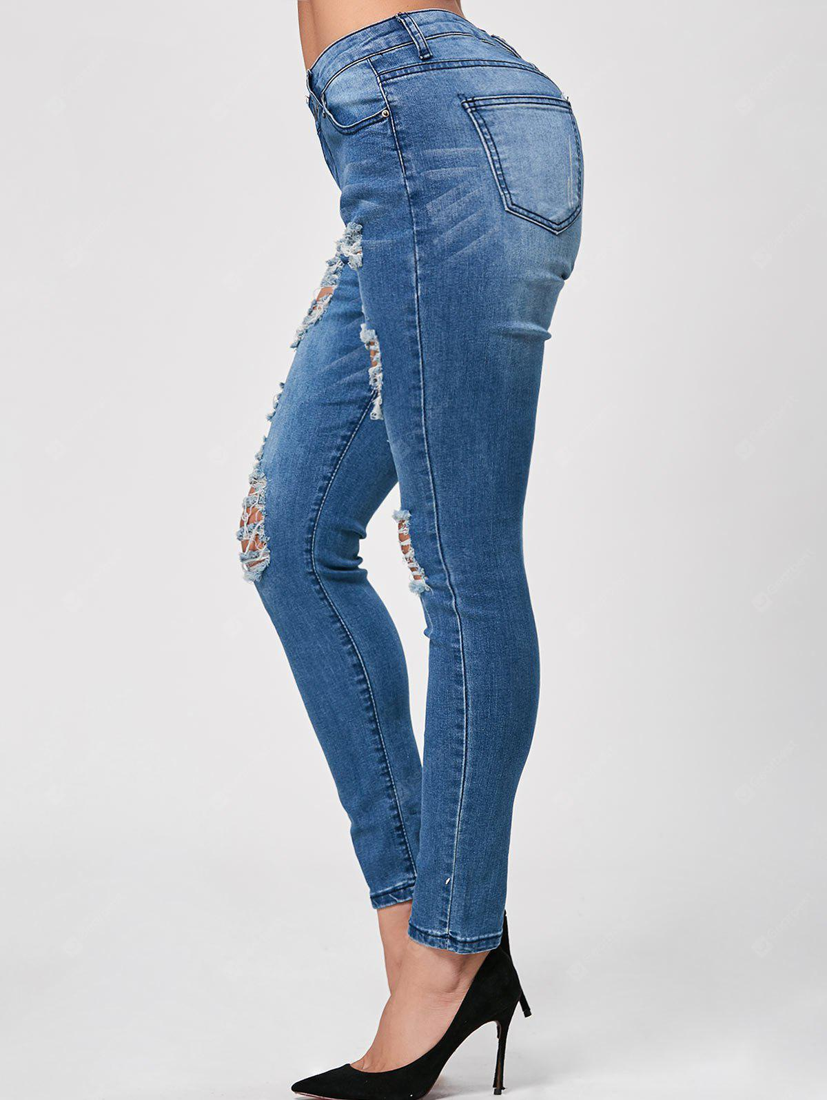 Whisker Wash Ripped Skinny Jeans