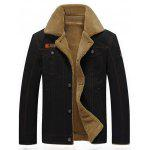 Applique Turndown Collar Faux Shearling Jacket - BLACK