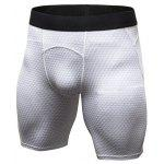 Quick Dry 3D Geometric Print Fitted Gym Shorts - WHITE