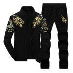 Totem Dragon Print Jacket and Sweatpants Suit - BLACK