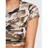 Camouflage Ripped Crew Neck Crop T-shirt - ARMY GREEN CAMOUFLAGE