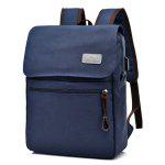 Canvas Double Pocket Zippers Backpack - BLUE
